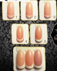 french nails with gold Glitter Nail Art Techniques, Rose Nails, Diy Nail Designs, French Nail Art, Easy Nail Art, Nail Tutorials, Diy Nails, Nails Inspiration, Beauty Nails