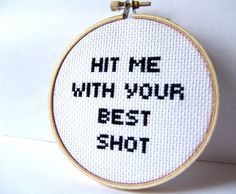 Cross Stitched Music Lyrics Hit Me With Your Best by GraceyMay, $25.00