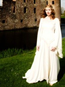 Square Neck Chiffon Sheath Wedding Dress with Trumpet Sleeves and Embroidery Detail