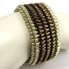 SilverRimmed Chunky Serendipity in Bronze Peyote by SandFibers, $79.00