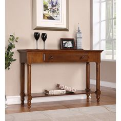 Single-drawer Chestnut Console Table   Overstock.com Shopping - The Best Deals on Coffee, Sofa & End Tables ($1,833.00)