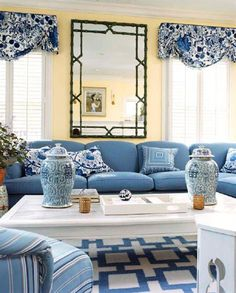 Preppy, classic, and fun living room in blue, white, and yellow by Timothy Whealon in the Chicago suburb of Winnetka, IL.