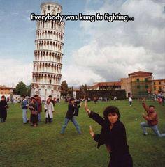 Everyone was Kung Fu Fighting - Leaning Tower of Pisa | pinned by @aperfectmale