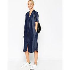 ASOS WHITE Denim Tencel Zip Detail Dress (63 CAD) ❤ liked on Polyvore featuring dresses, blue, blue white dresses, oversized dress, asos, blue dress and white dress