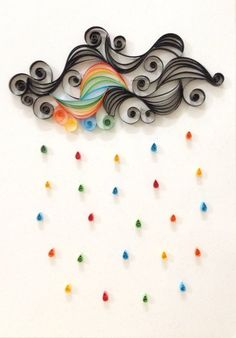 Paper quilling It& raining by Hyvoky on Etsy Quilled Paper Art, Paper Quilling Designs, Quilling Paper Craft, Quilling Patterns, Diy Paper, Quilling Tutorial, Origami, Vitrine Design, Arte Quilling