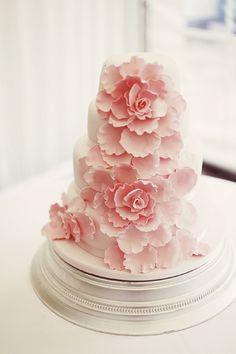 pink / coral peony wedding cake