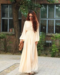 Hey, I found this really awesome Etsy listing at https://www.etsy.com/listing/191965296/champagne-maxi-dress-long-sleeve-chiffon