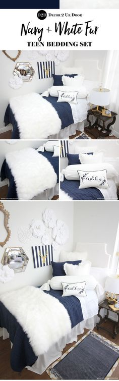 This navy and white faux fur teen bedding features textured furs, linens & ties. Navy and white is a teen bedding trend we know you will love! Sleek, clean, and a bit sassy with a flirty flare! (Cool Rooms For Teen Girls) Dorm Room Headboards, Dorm Room Bedding, College Bedding, College Dorm Rooms, College Tips, Preppy Dorm Room, Dorm Bed Skirts, Teen Bedding Sets, Teen Room Makeover