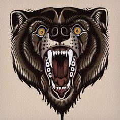 Traditional Tattoo Animals, Traditional Tattoo Skull, Traditional Tattoo Old School, Pop Art Tattoos, Bear Tattoos, Animal Tattoos, Tatuagem Old Scholl, Indian Skull Tattoos, Indian Tattoo Design