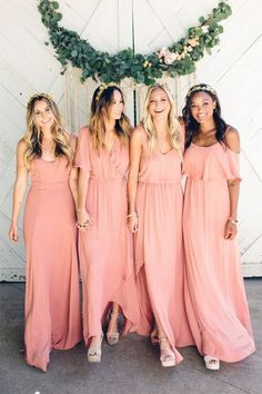 Charming Sheath Round Neck Open Back Coral Long Bridesmaid Dresses Under 100 Blush Bridesmaid Dresses Long, Blush Pink Dresses, Wedding Bridesmaids, Wedding Dresses, Coral Dress Wedding, Modest Wedding, Homecoming Dresses, Maid Of Honour Dresses, Gaines