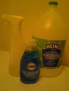 "Use equal amounts. I used 1 cup of Heinz Cleaning Vinegar, and 1 cup of blue Dawn"".  Heat the vinegar and pour into your spray bottle.   Use a good spray bottle.  Add your blue dawn.(must be blue) to your cleaning  vinegar and shake.  It will be a little thick.  Spray on your tub and leave one hour.  Then just rinse  off.  The Heinz Cleaning Vinegar was with the vinegars at one Walmart and at another it was with the cleaning products."