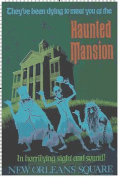 Large Size Disney Haunted Mansion Attraction Poster Cross Stitch Pattern PDF (Pattern Only)