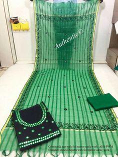 Cotton silk top with stripes Dupatta  Foil mirror aaree work