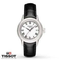 Roman numeral hour markers and a silver-tone dial add a traditional look to this Carson women's watch from Tissot. A scratch-resistant sapphire crystal protects the quartz movement, set in a 29mm stainless steel case. A black leather strap completes the look. The women's watch is water-resistant to 30 meters.
