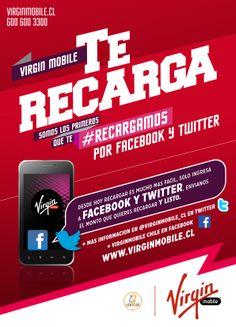 """""""La rapidez de la recarga con la efectividad de un hashtag"""" Virgin Mobile Chile en su constante esfuerzo por motivar y apoyar las startup nacionales, se asocia con Uanbai para desarrollar un nuevo sistema de recarga vía redes sociales (Twitter & Facebook), siendo la primera compañía de telecomunicaciones en el mundo en ofrecerlo a sus clientes. Mediante esto, Virgin apuesta por facilitar a sus usuarios la recarga de sus celulares usando un simple hashtag.  Más por acá http://vmcl.cl/1jIurUR"""