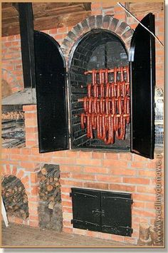 Talk about going a little overboard with your backyard smokehouse. Talk about going a little overboard with your backyard smokehouse. Outdoor Kitchen Patio, Pizza Oven Outdoor, Outdoor Kitchen Design, Outdoor Cooking, Backyard Patio, Backyard Landscaping, Backyard Ideas, Diy Grill, Outdoor Fireplace Designs