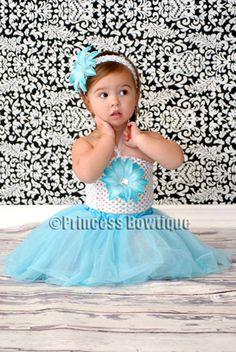 Tutu Dress - Ocean Turquoise Flower Infant Girl White Boutique Top- Turquoise Chiffon Baby Tutu: Princess Bowtique