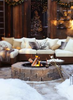 Bring the party outside with a firepit. Grown-ups can get cozy on the couch while the kids toast marshmallows