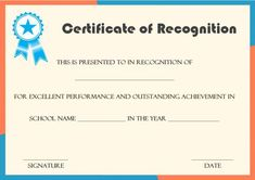Certificate Of Recognition Award Template  Certificate Of