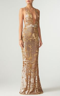 Plunging V Neck Shredded Sequin Column Gown by KAUFMANFRANCO 2017