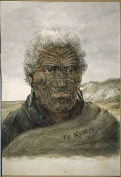 Head and shoulders portrait of Te Kuka, of the Ngaiterangi tribe Maori Face Tattoo, Ta Moko Tattoo, Maori Tattoos, Maori Words, Nz History, Polynesian People, Ancient Greek City, Maori People, Maori Art