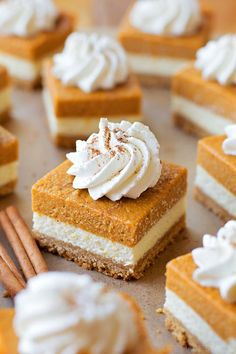 You're going to love these layered pumpkin pie cheesecake bars. They've got a graham cracker crust, a layer of cheesecake and a layer of pumpkin pie on top!