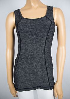 LULULEMON Tank Shirt 4 S Gray Black Center Ruffle Small Pocket Pilates Yoga Luon