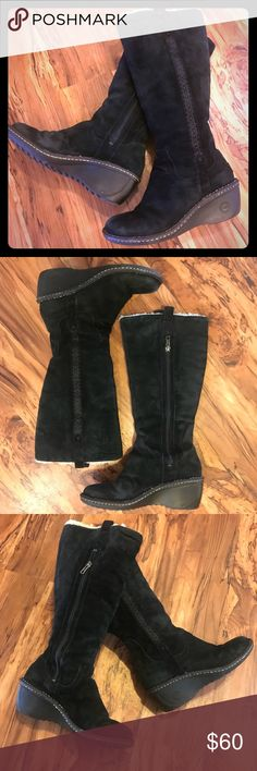 """Authentic Ugg Hartley Tall Black Wedge Boot. Sz 8 Authentic UGG Australia """"Hartley"""" Boot (S/N: 3342) """" The Hartley is born of the surf inspired UGG® line known for its comfort and style""""  Size:  8  Genuine Suede Leather  Genuine Sheepskin Fur Lining, very lush and comfortable  2.5"""" wedge heel   3/4 zippers on inner sides  Tasman embossed design along the lateral shaft  Condition: VGUC- only very minor signs of wear, not noticeable   Great pair of Uggs, very wearable   Any questions just ask…"""