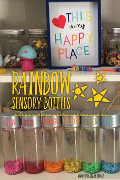 Fun and simple ways to create sensory bottles... fun to play with, can be used as calming jars, with the use of stickers these also help teach colors.