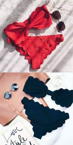 Maillot de bain : Bandeau Scallop Edge Ruched Padded Bikini Set Black/Red Idea and inspiration swimsuit trend 2017 Image Description Headband Scallop Edge Ruched Padded Bikini Set Bikini Sets, Bikini Modells, Bandeau Swimsuit, Sequin Bikini, Bikini Ready, Lingerie, Summer Outfits, Cute Outfits, Summer Dresses