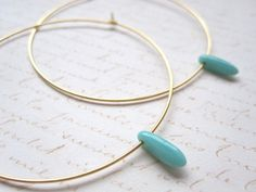 Turquoise Dagger Bead Hoop Earrings Large Gold by shoprhubarb, $10.00
