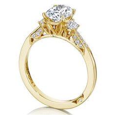 TACORI Three Stone Yellow Gold Diamond Engagement Ring 2659OV8X6Y #ArthursJewelers