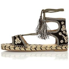 River Island Black embroidered espadrille sandals (265 BRL) ❤ liked on Polyvore featuring shoes, sandals, black, shoes / boots, women, floral shoes, espadrille shoes, floral espadrilles, black sandals and floral sandals