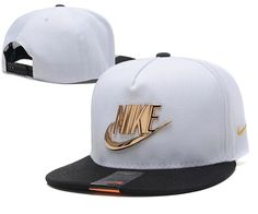 Mens Nike The Classic Nike Iron Gold Metal Logo A-Frame USA 2016 Best Quality Fashion Leisure Snapback Cap - White / Black