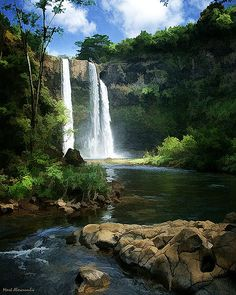 I visit this awesome place on honeymoon is the most beautiful place in the world...Wailua Falls, Kauai, Hawaii (Best Wedding  Engagement rings at www.brilliance.com)
