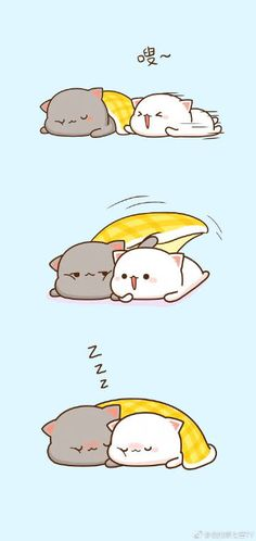 Love Cartoon Couple, Cat Couple, Cute Love Cartoons, Cute Love Pictures, Cute Love Gif, Cute Kawaii Animals, Kawaii Cat, Chibi Cat, Cute Chibi