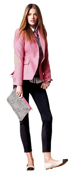 Pink hacking jacket for Fall with black and white, love the little clutch.