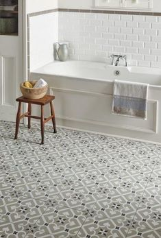 Original Style Odyssey Grande EPOQUE Porcelain tiles that look like encaustic cement tiles. Bathtub Tile, Bathroom Floor Tiles, Tile Floor, Cement Bathroom, Bathroom Basin, Bathroom Towels, Bathroom Wall, Bad Inspiration, Bathroom Inspiration