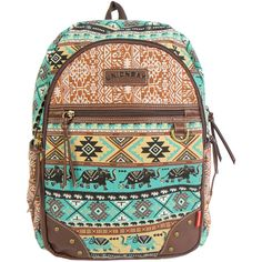 Unionbay Elephant Aztec Backpack (€37) ❤ liked on Polyvore featuring bags, backpacks, aztec print backpack, strap bag, rucksack bag, elephant backpack and ikat bag