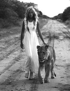 walking with lions.