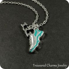 Half Marathon Running Shoe Necklace Silver and от treasuredcharms