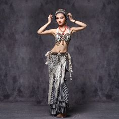 Tribal Belly Dance Clothes  Outfit Sexy Embroid Tops Hip Belt and Pants Women Tribal Dance Costume