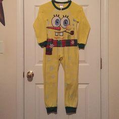 Onesie pajamas Nickelodeon SpongeBob SquarePants onesie pajamas. Boys size 8 medium . Used but still soft and warm. Very very cute Nickelodeon Intimates & Sleepwear Pajamas