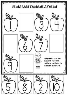 Apple Worksheet for Preschool Apple themed Math and Literacy Printables for Young Learners Kindergarten Math Worksheets, Kindergarten Activities, Preschool Printables Free Worksheets, Kindergarten Apples, Free Activities, Numbers Preschool, Preschool Learning, Math Pages, Math For Kids