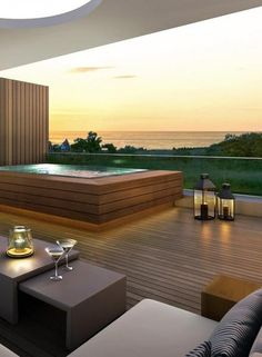 Choosing A Deck? A Guide To The Best Wood Alternative For Decking Choosing A Deck? A Guide To The Best Wood Alternative For Decking Hot Tub Backyard, Swimming Pools Backyard, Backyard Patio, Jacuzzi Outdoor, Outdoor Spa, Outdoor Living, Rooftop Terrace Design, Rooftop Pool, Backyard Pool Designs