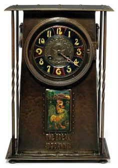 """Arts & Crafts Copper and Enamel Mantle Clock. Hammered Copper with French Gilt Bronze, Movement and Enameled Plaque of a Cockeral in a Garden. Copper Embossed """"THE BREAK O'DAWN"""". England. Circa 1900. ."""