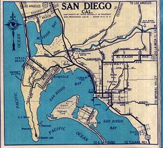 Old San Diego map. Use hearts for big life events (first kiss, proposal, etc.)