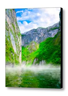 Art print reflecting beautiful memories of a boat trip through the green depths of Sumidero Canyon in Chiapas Mexico