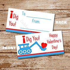 Printable / Digger Valentine's Day Bag by CelebrateLilThings, $5.50