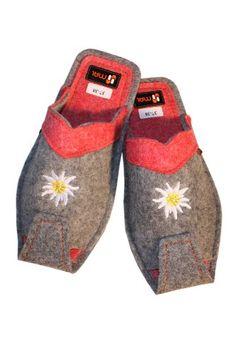 Damen Hausschuhe leandlicher Art: warmer Flies, Wolle, in Grau mit Rosa - http://on-line-kaufen.de/weri-spezials/damen-hausschuhe-leandlicher-art-warmer-flies-in